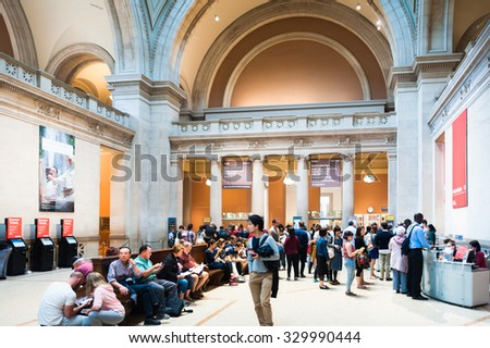 NEW YORK, USA - SEP 25, 2015: Entrance hall of the Metropolitan Museum of Art (the Met), the largest art museum in the United States of America