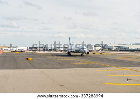 NEW YORK, USA - SEP 26, 2015: Exterior of the John F. Kennedy International Airport. It is the busiest international air passenger gateway in the United States