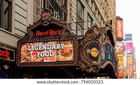 NEW YORK, USA - SEP 16, 2017: Hard rock cafe sign Architecture of Manhattan, New York City, United States of America