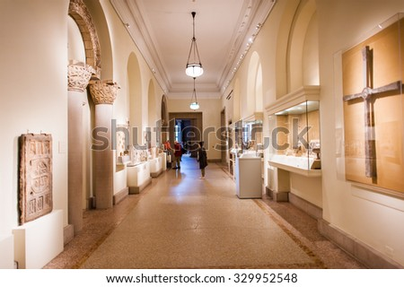 NEW YORK, USA - SEP 25, 2015: Interior of the Metropolitan Museum of Art (the Met), the largest art museum in the United States of America