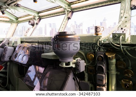 NEW YORK, USA - SEP 25, 2015: Interior of the USS Intrepid (The Fighting I), one of 24 Essex-class aircraft carriers built during World War II for the United States Navy