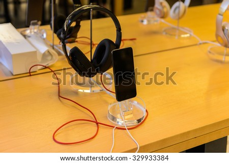 NEW YORK, USA - SEP 22, 2015: iPhone 6 at the Apple store on the Fifth Avenue, New York. The store sells Macintosh personal computers, software, iPod, iPad, iPhone, Apple Watch, Apple TV - stock photo