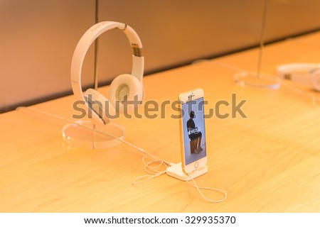NEW YORK, USA - SEP 22, 2015: iPhone 6 Plus at the Apple store on the Fifth Avenue, New York. The store sells Macintosh personal computers, software, iPod, iPad, iPhone, Apple Watch, Apple TV - stock photo