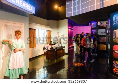 NEW YORK, USA - SEP 22, 2015: Lucille Ball in Madame Tussaud  wax museum, TImes Square, New York City. Marie Tussaud was born as Marie Grosholtz in 1761