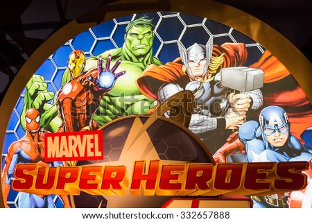 NEW YORK, USA - SEP 22, 2015: Marvel Superheores in Madame Tussaud  wax museum, TImes Square, New York City. Marie Tussaud was born as Marie Grosholtz in 1761 - stock photo