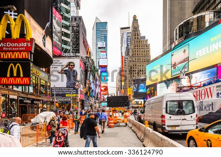 NEW YORK, USA - SEP 22, 2015: McDonald's restaurant at the Times Square, a major commercial neighborhood in Midtown Manhattan, New York City