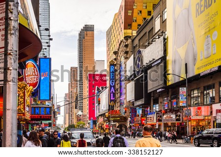 NEW YORK, USA - SEP 22, 2015: 42nd street (Manhattan), major crosstown street in the New York City borough of Manhattan, known for its theaters