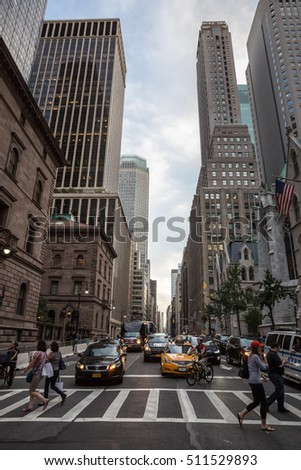 NEW YORK, USA - Sep 22, 2016: New York and New Yorkers. Manhattan street scene. The Americans on the streets of New York City in evening time