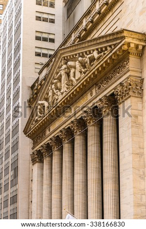 NEW YORK, USA - SEP 25, 2015: New York Stock Exchange (NYSE), Big Board, an American stock exchange in Wall Street, the world's largest stock exchange by market capitalization - stock photo