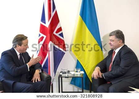 NEW YORK, USA - Sep 27, 2015: President of Ukraine Petro Poroshenko and British Prime Minister David Cameron during a meeting in the framework of 70th session of the UN General Assembly in New York - stock photo