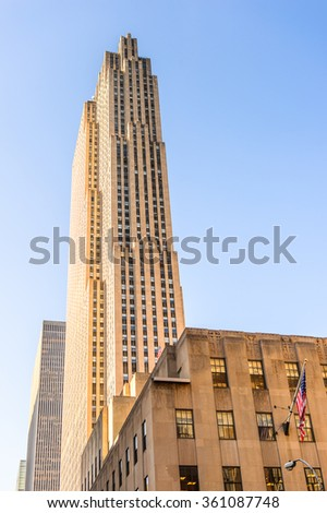 NEW YORK, USA - SEP 25, 2015: Rockfeller center of Manhattan, New York City, USA. New York is the most populous city in the United States