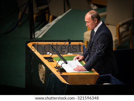 NEW YORK, USA - Sep 28, 2015: Russian President Vladimir Putin speaks at the opening of the 70th session of the General Assembly of the United Nations Organization in New York - stock photo