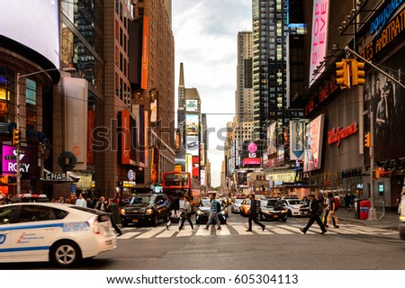 NEW YORK, USA - SEP 22, 2015: Screens and publicity on the 42nd street (Manhattan), major crosstown street in the New York City borough of Manhattan, known for its theaters