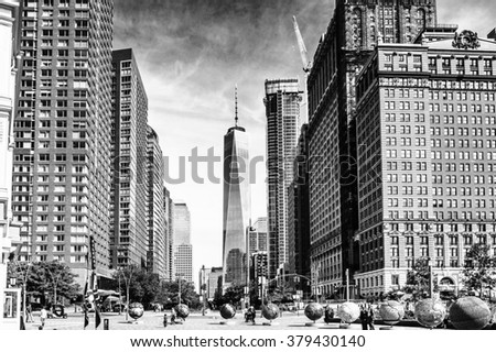 NEW YORK, USA - SEP 22, 2015: Skyscapers of the of the Lower Manhattan (Downtown). Downtown  was originated at the southern tip of Manhattan Island in 1624