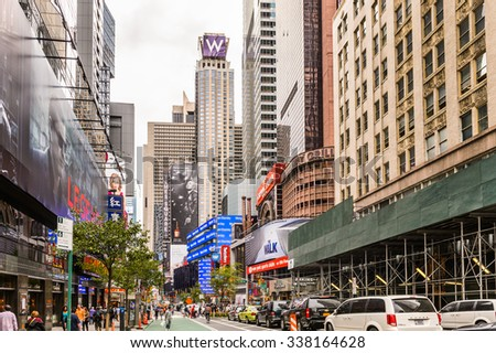 NEW YORK, USA - SEP 22, 2015: Times Square, a major commercial neighborhood in Midtown Manhattan, New York City