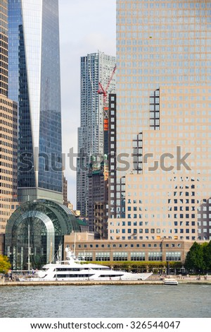 NEW YORK, USA - SEP 25, 2015: View of the Architecture of Manhattan, New York City, USA. New York is the most populous city in the United States