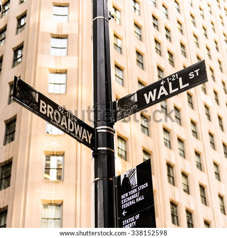 NEW YORK, USA - SEP 22, 2015: Wall Street and Broadway sign on the Lower Manhattan (Downtown). Downtown  was originated at the southern tip of Manhattan Island in 1624