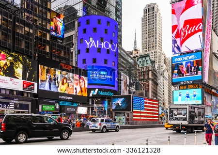 NEW YORK, USA - SEP 22, 2015: Yahoo screen at the Times Square, a major commercial neighborhood in Midtown Manhattan, New York City - stock photo