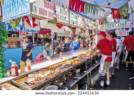 NEW YORK, USA - Sept 18th, 2015: Food vendors at the Little Italy on Mulberry St. during the Feast Of San Gennaro - stock photo