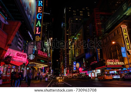 New york, USA – September 28 : Advertisement billboards in time square in at night on 28/09/2017 in New york