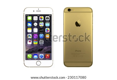 New York, USA - September 29, 2014: Front and back view of a gold iPhone 6 showing the application screen with iOS8. Isolated on white. - stock photo