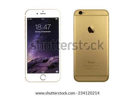 New York, USA - September 29, 2014: Front and back view of a gold iPhone 6 showing the home screen with iOS8. Isolated on white. - stock photo