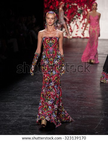 New York, USA - September 16, 2015: Naeem Khan's Runway at the Skylight at Moynihan Station for New York Fashion week Showing his Spring / Summer Collection for 2016 - stock photo