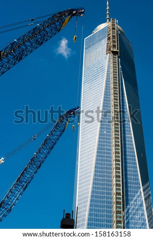 NEW YORK, USA - SEPTEMBER 28, 2013: One World Trade Center Tower construction site in Lower Manhattan on September 28, 2013 in New York City, NY, USA.