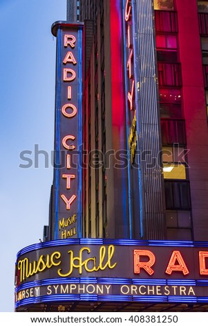 NEW YORK,USA-SEPTEMBER 4,2015:Radio City music hall, located at Rockefeller Center. Its nickname is the Showplace of the Nation, one of New York most visited landmarks - stock photo