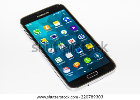 "New York, USA - September 29, 2014:Studio shot of a black Samsung Galaxy S5 smartphones. Samsung Galaxy S5 is supported with 5.1"" touch screen display and 1920 x 1080 pixels resolution."