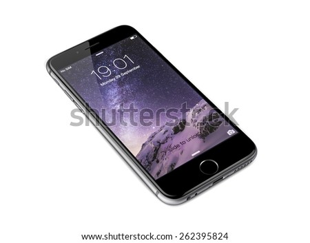 New York, USA - September 29, 2014: Studio shot of a galaxy grey colored iPhone 6 showing the home  screen with iOS8. Isolated on white. - stock photo