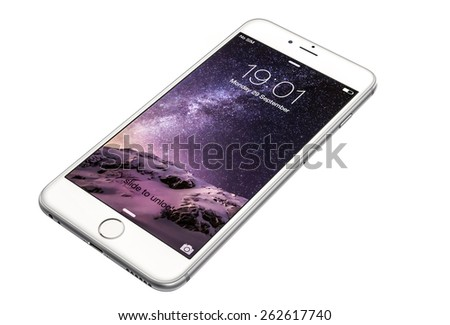 New York, USA - September 29, 2014: Studio shot of a silver-white colored iPhone 6 showing the home screen with iOS8. Isolated on white. - stock photo