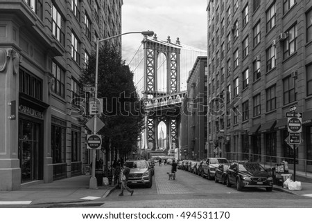 New York, USA - September 21, 2015:  View of Manhattan bridge from Brooklyn in New York.