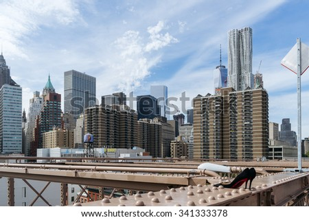 New York, USA - September 21, 2015:  View of skyscrapers from Brooklyn Bridge, Downtown, New York. - stock photo
