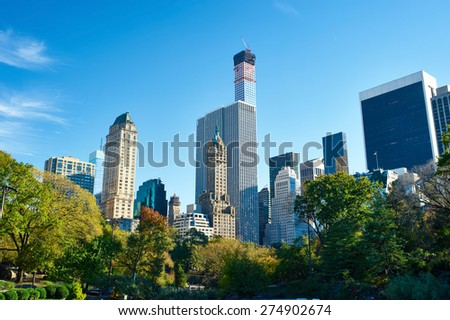 New York view from Central Park at summer - stock photo