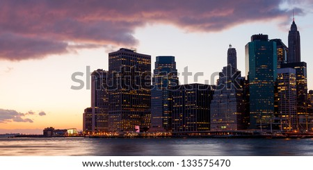 New York - view of Manhattan Skyline by night from  Brooklyn
