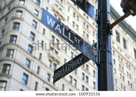 New York Wall street and Broadway street sign