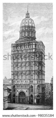 New York World Building (United States) / vintage illustration from Meyers Konversations-Lexikon 1897 - stock photo
