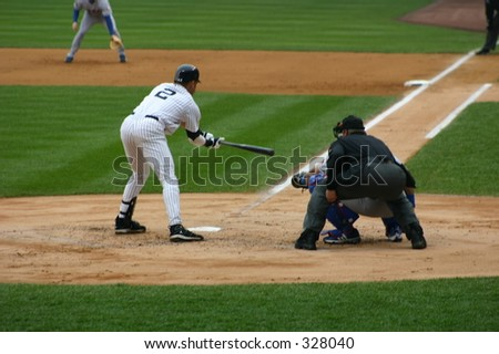 New York Yankees baseball player bunting, - stock photo