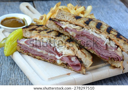New Yorker Sandwich  on rustic wood background - stock photo