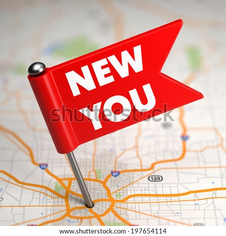 New You Concept - Small Flag on a Map Background with Selective Focus. - stock photo