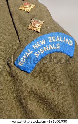 New Zealand Army veteran soldier original ranking and uniform from Korea war time during a National War Memorial Anzac Day in New Zealand. - stock photo