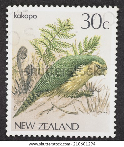 NEW ZEALAND - CIRCA 1985: A Cancelled postage stamp from New Zealand illustrating a kakapoi, issued in 1985.