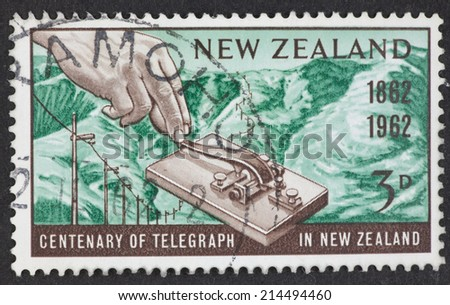 NEW ZEALAND - CIRCA 1962: A Cancelled postage stamp from New Zealand illustrating Centenary of Telegraph, issued in 1962. - stock photo