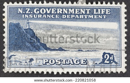 NEW ZEALAND - CIRCA 1947: A Cancelled postage stamp from New Zealand illustrating Lighthouses, issued in 1947.
