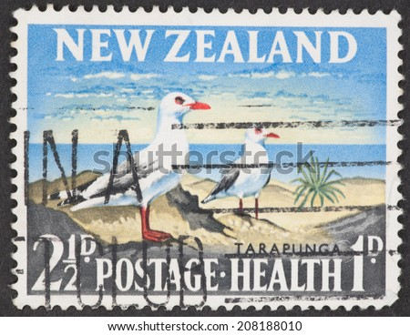 NEW ZEALAND - CIRCA 1964: A Cancelled postage stamp from New Zealand illustrating New Zealand Seabirds, issued in 1964 .