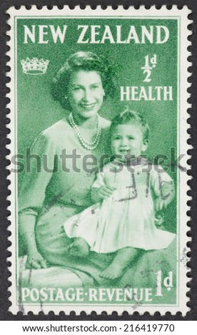 NEW ZEALAND - CIRCA 1950: A Cancelled postage stamp from New Zealand illustrating Princess Elizabeth and Prince Charles, issued in 1950. - stock photo