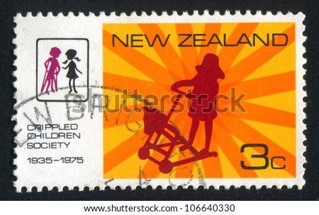 NEW ZEALAND - CIRCA 1975: A stamp printed by New Zealand, shows children, circa 1975 - stock photo