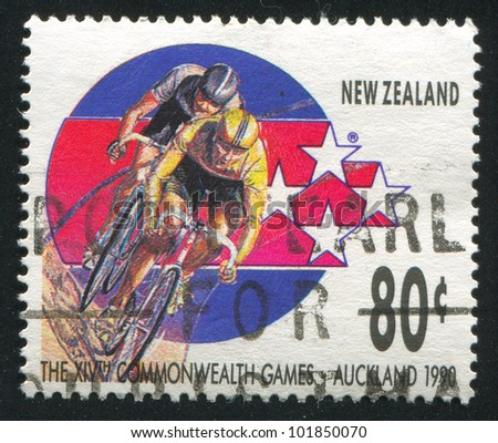 NEW ZEALAND - CIRCA 1989: A stamp printed by New Zealand, shows Cyclists at 14th Commonweath Games in Auckland in 1990, circa 1989