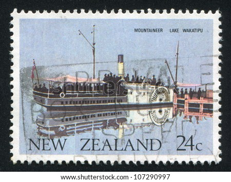 NEW ZEALAND - CIRCA 1984: A stamp printed by New Zealand, shows Ferry Mountaineer, Lake Wakatipu, circa 1984